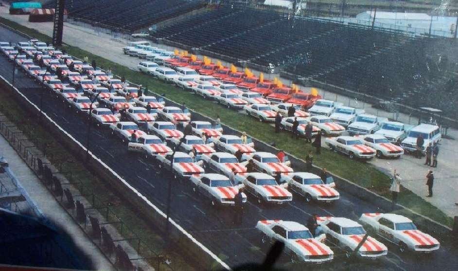 1969 Pace Cars and support vehicles at Indy