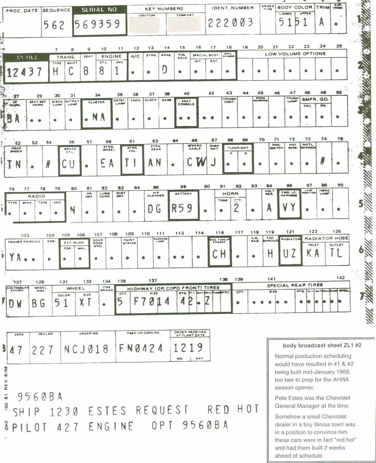 Crg Research Report Copo 427 Engine Diagram 9560 2 Body Broadcast Copy Sheet