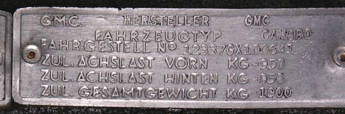 German Homologation Tag