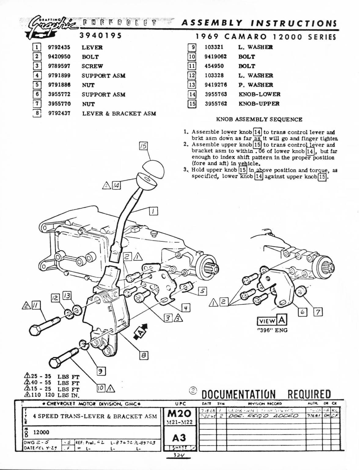 CRG Research Report - 1967-69 Camaro Manual Transmission Floor Shifters